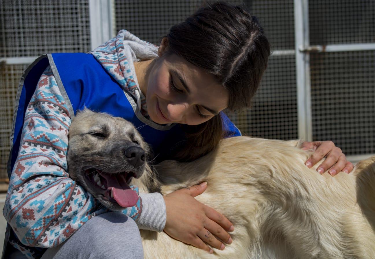 Volontaria con cane